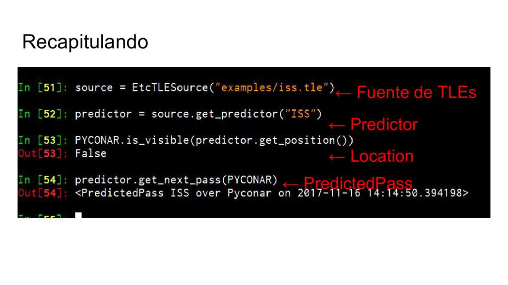 Recapitulando ← Fuente de TLEs ← Predictor ← Lo...