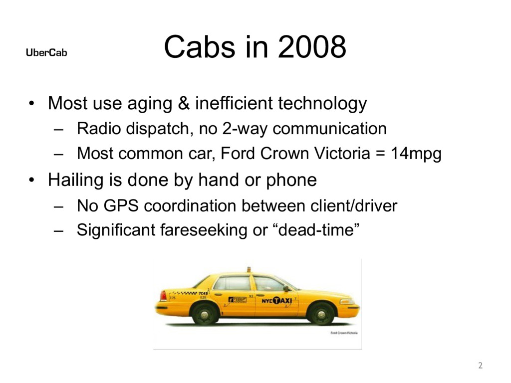 Cabs in 2008 • Most use aging & inefficient tec...