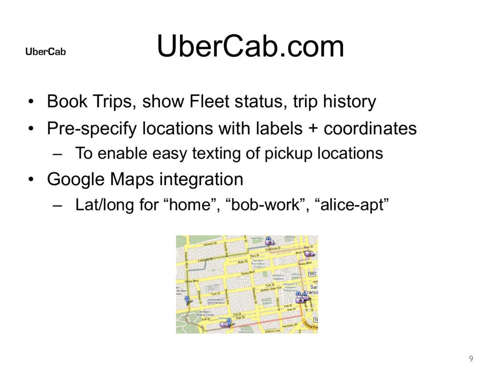 UberCab.com • Book Trips, show Fleet status, tr...