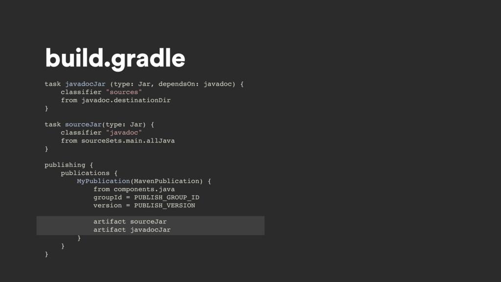 build.gradle task javadocJar (type: Jar, depend...