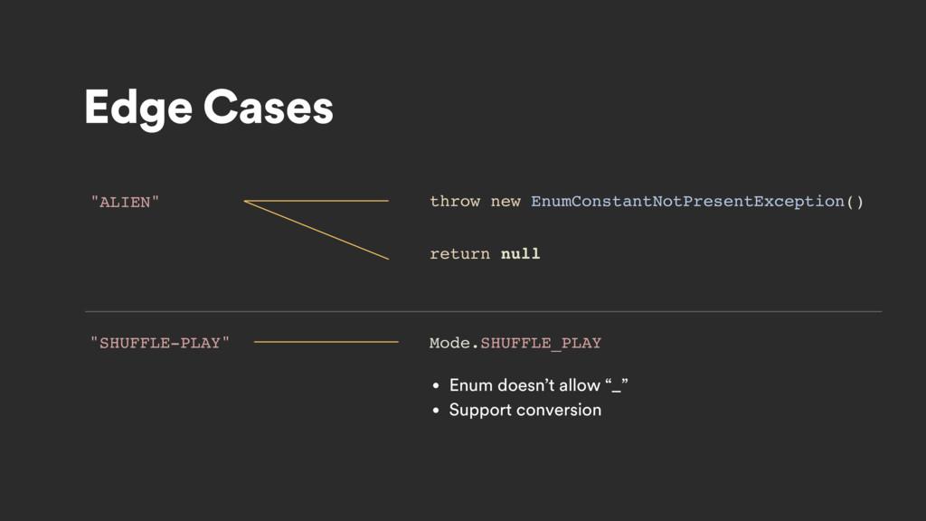 "Edge Cases ""ALIEN"" return null throw new EnumCo..."