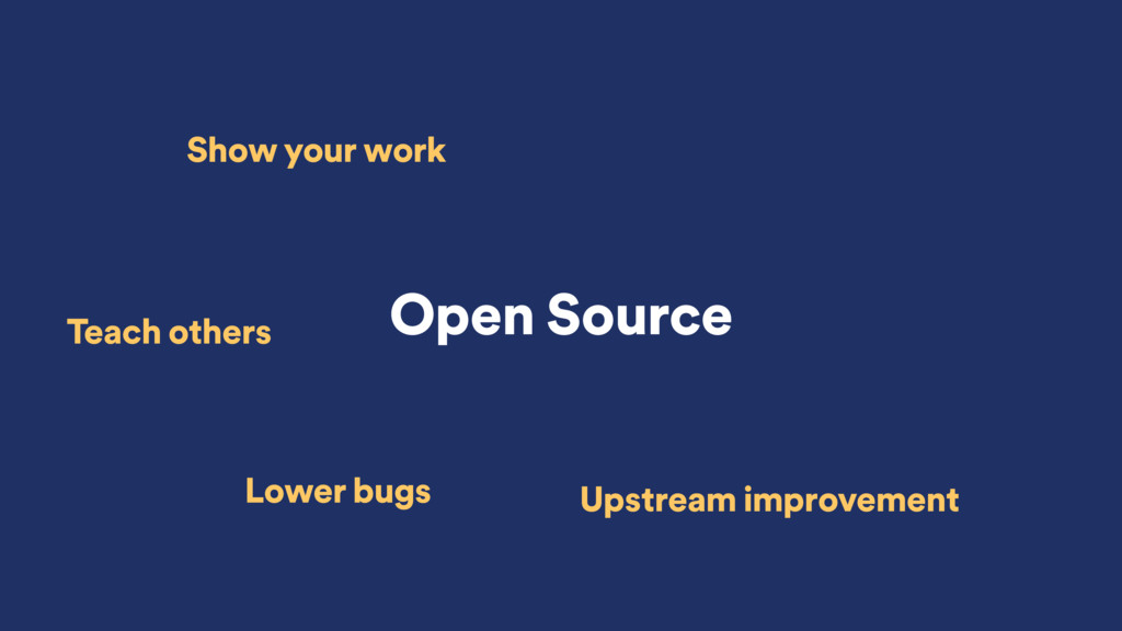Open Source Show your work Teach others Lower b...
