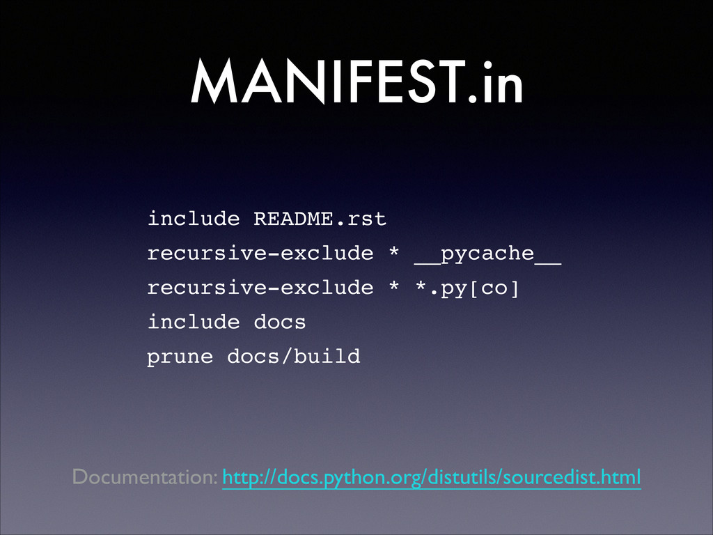 include README.rst! recursive-exclude * __pycac...