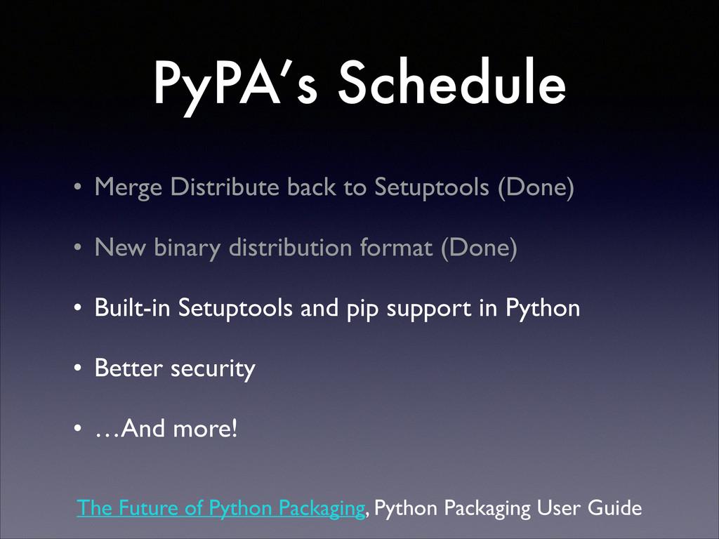 PyPA's Schedule • Merge Distribute back to Setu...