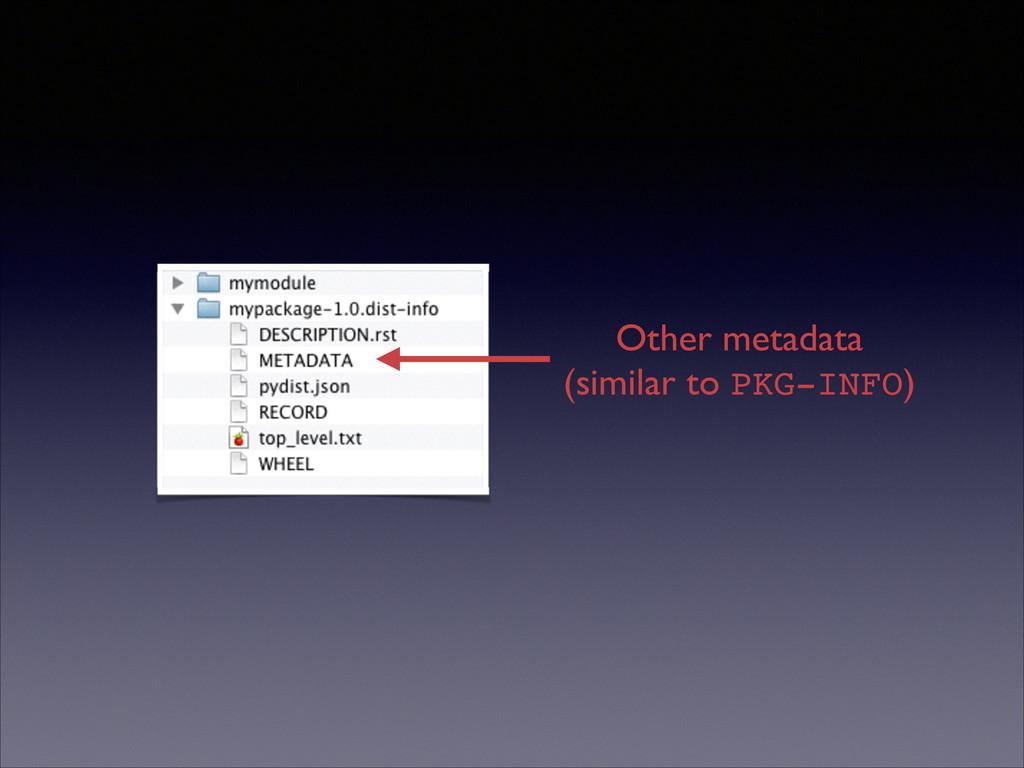 Other metadata  (similar to PKG-INFO)