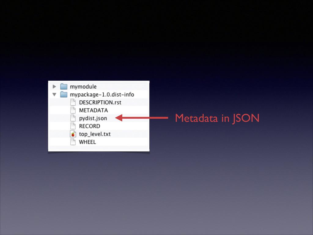 Metadata in JSON