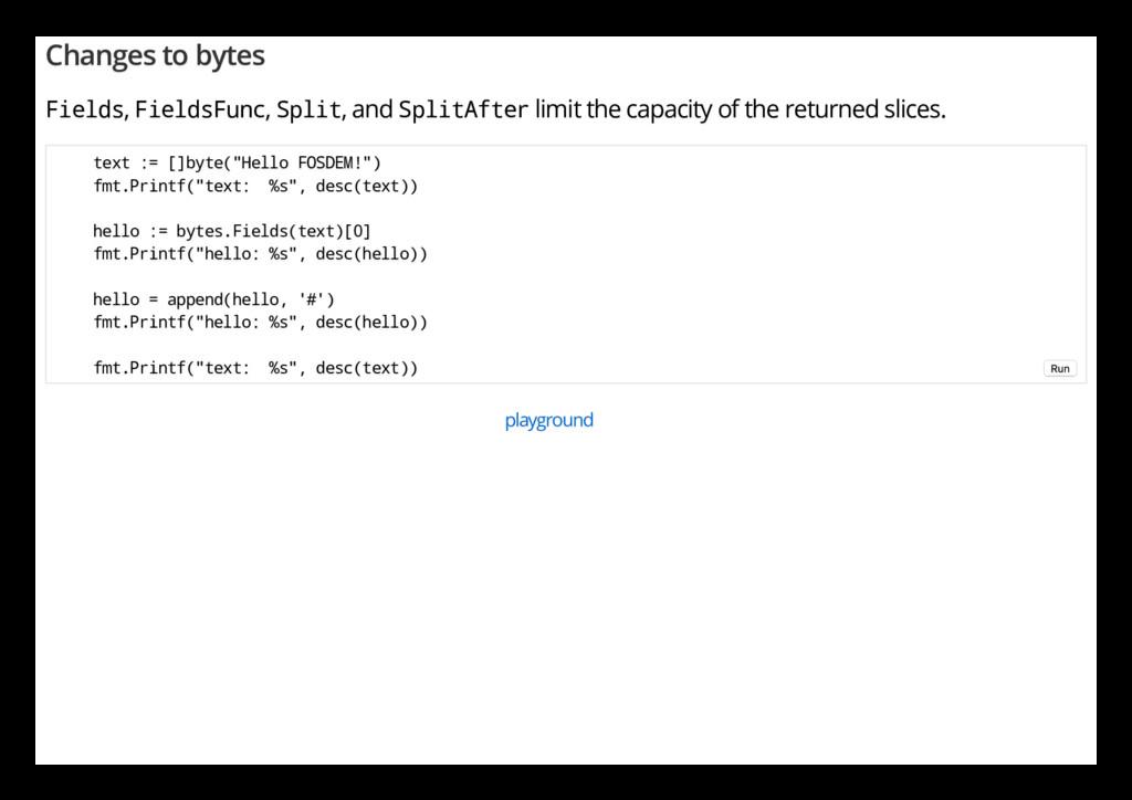 Changes to bytes Fields, FieldsFunc, Split, and...