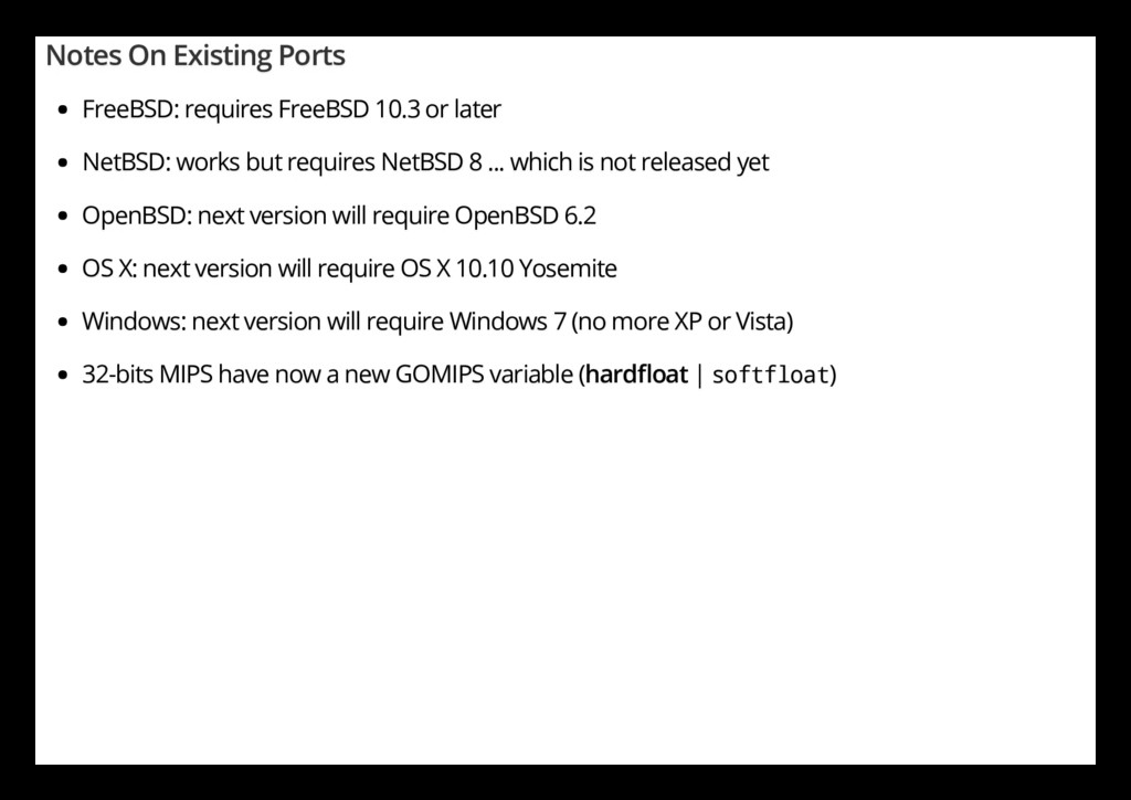 Notes On Existing Ports FreeBSD: requires FreeB...