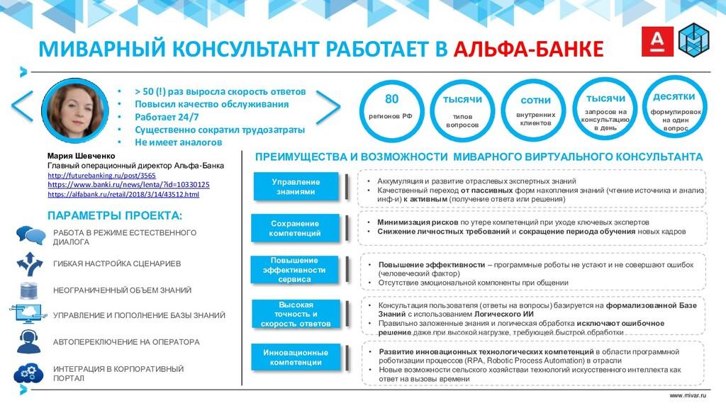 www.mivar.ru ПАРАМЕТРЫ ПРОЕКТА: ГИБКАЯ НАСТРОЙК...