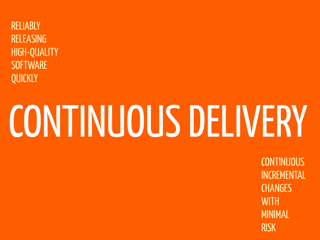 CONTINUOUS DELIVERY RELIABLY RELEASING HIGH-QUA...
