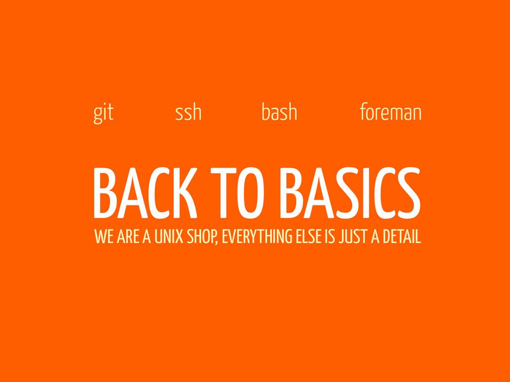 BACK TO BASICS git ssh foreman bash WE ARE A UN...