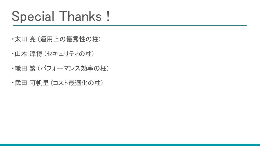 Special Thanks !   ・太田 亮 (運用上の優秀性の柱) ・山本 淳博...