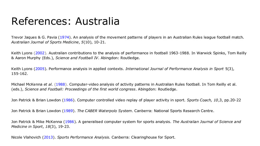 References: Australia Trevor Jaques & G. Pavia ...
