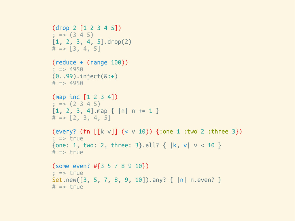 (drop 2 [1 2 3 4 5]) ; => (3 4 5) [1, 2, 3, 4, ...