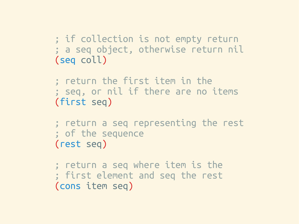 ; if collection is not empty return ; a seq obj...