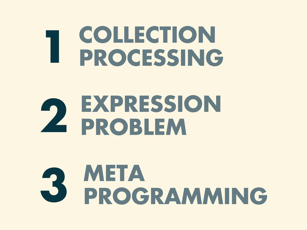COLLECTION PROCESSING 1 EXPRESSION PROBLEM 2 ME...