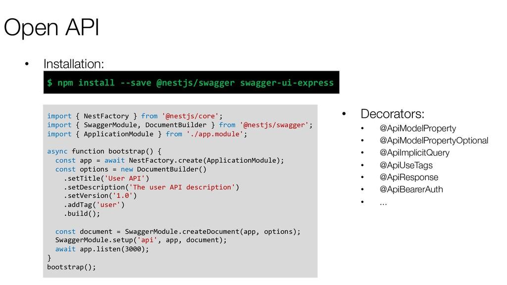 Open API • Installation: import { NestFactory }...