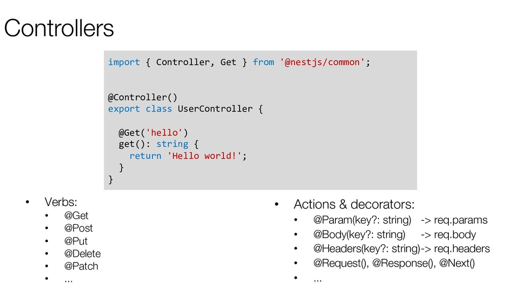 Controllers import { Controller, Get } from '@n...