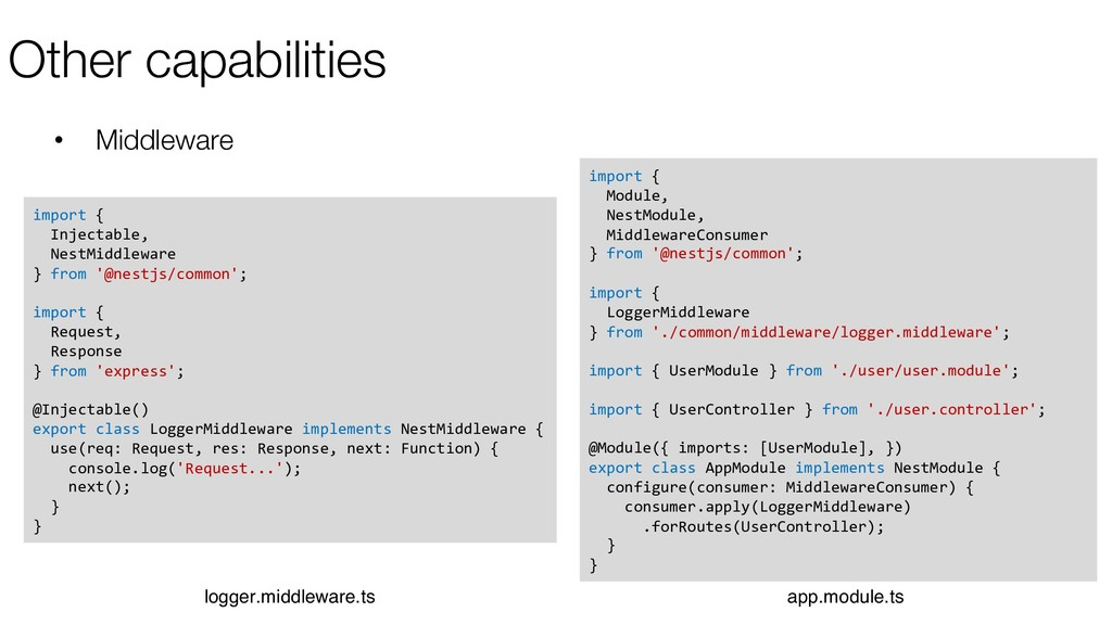 Other capabilities • Middleware import { Inject...