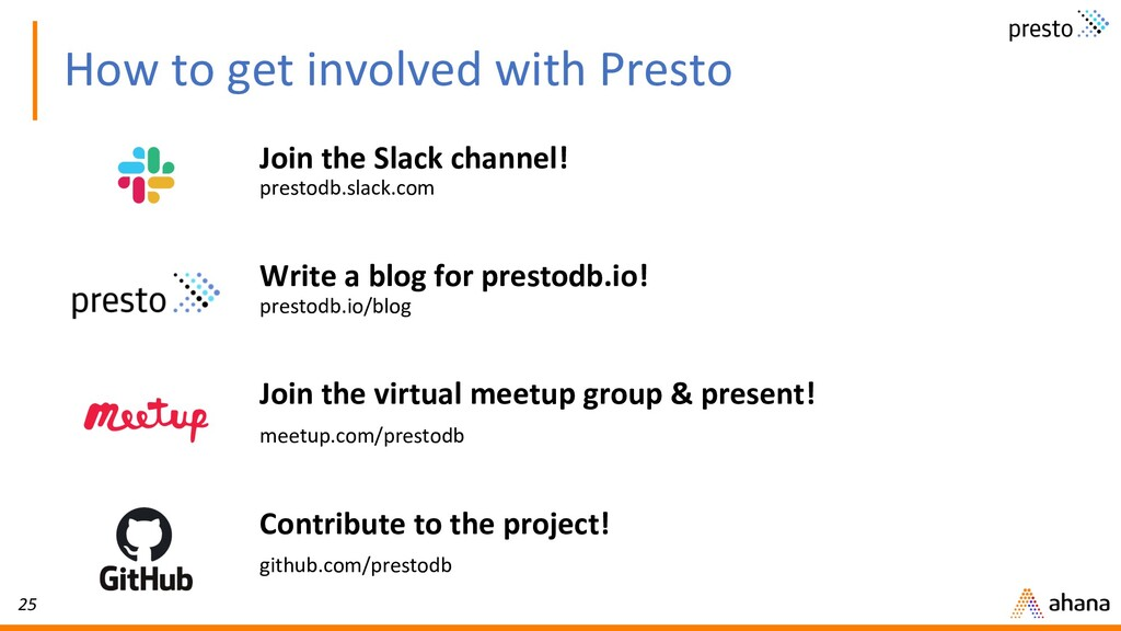 25 How to get involved with Presto Join the Sla...