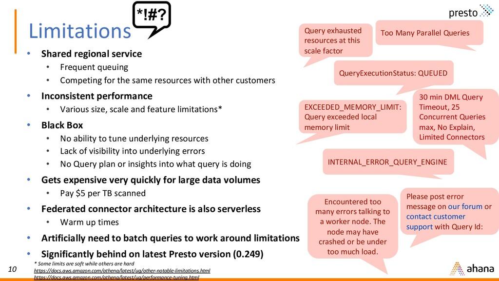 10 Limitations • Shared regional service • Freq...