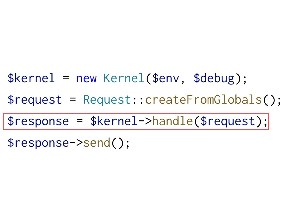 $kernel = new Kernel($env, $debug); $request = ...