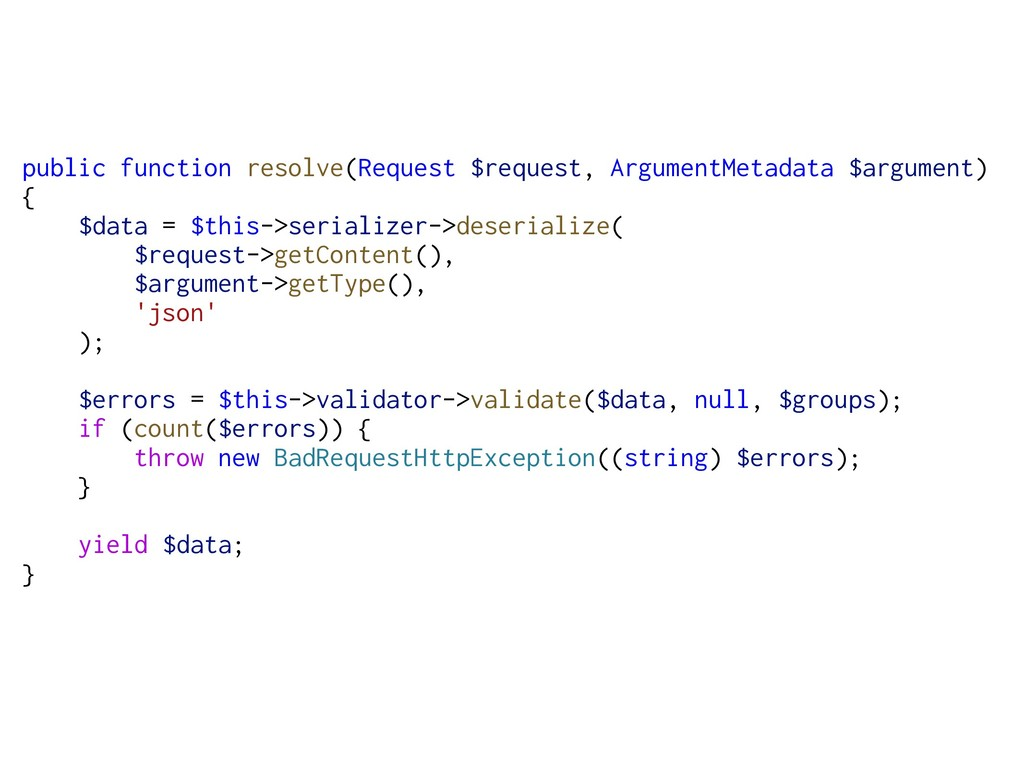 public function resolve(Request $request, Argum...