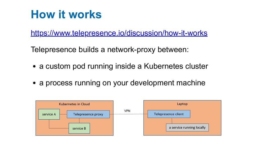 How it works https://www.telepresence.io/discus...