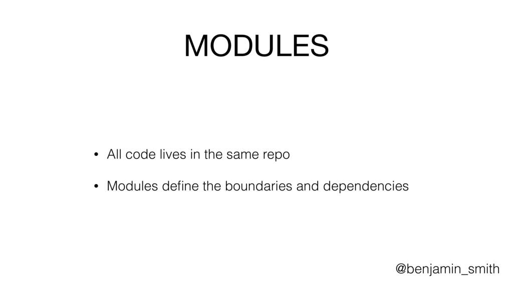 MODULES • All code lives in the same repo • Mod...