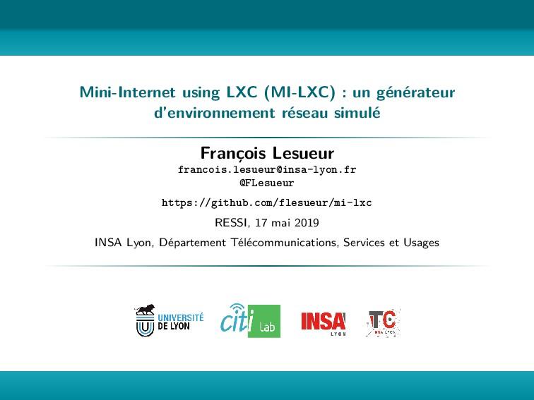 Mini-Internet using LXC (MI-LXC) : un générateu...