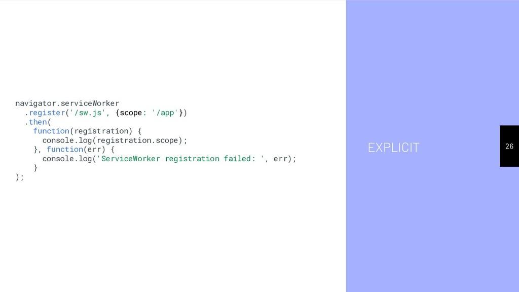 EXPLICIT 26 navigator.serviceWorker .register('...