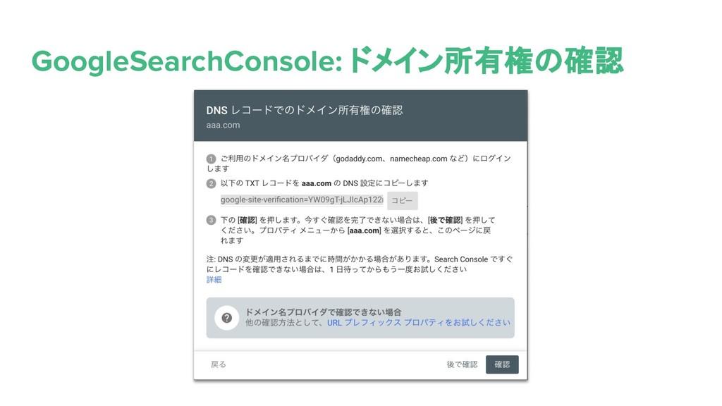 GoogleSearchConsole: ドメイン所有権の確認