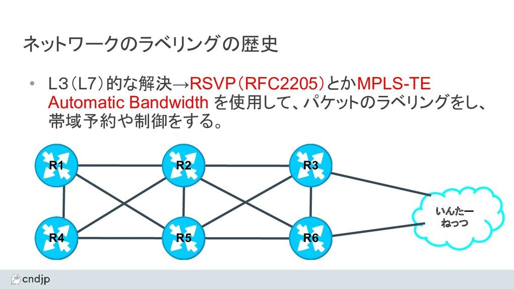 ネットワークのラベリングの歴史 • L3(L7)的な解決→RSVP(RFC2205)とかMPL...