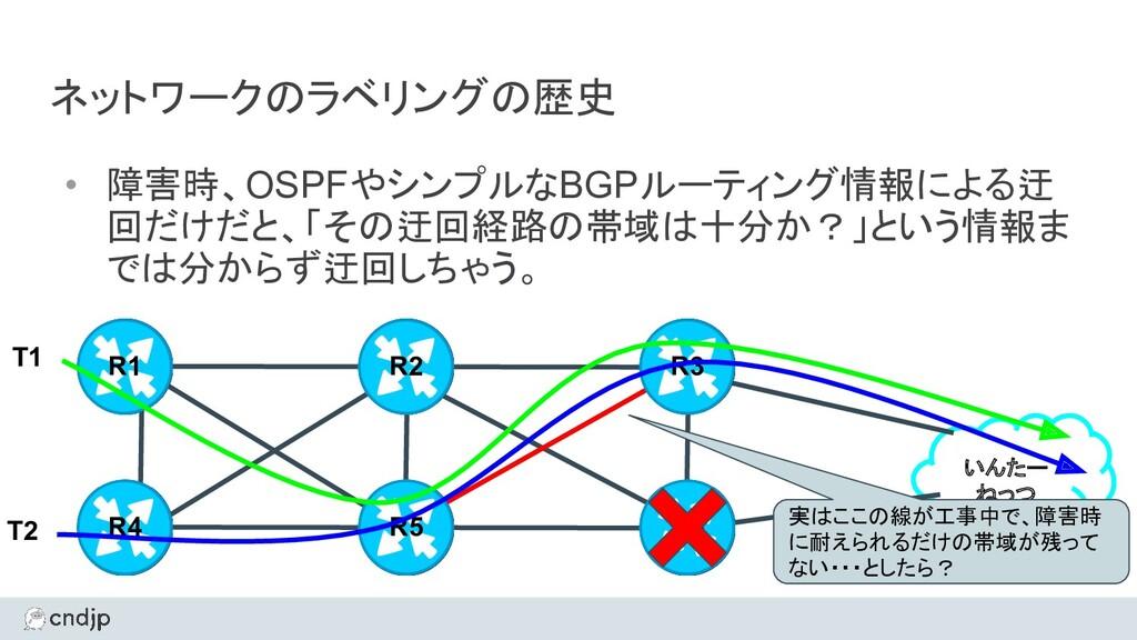 ネットワークのラベリングの歴史 • 障害時、OSPFやシンプルなBGPルーティング情報による迂...