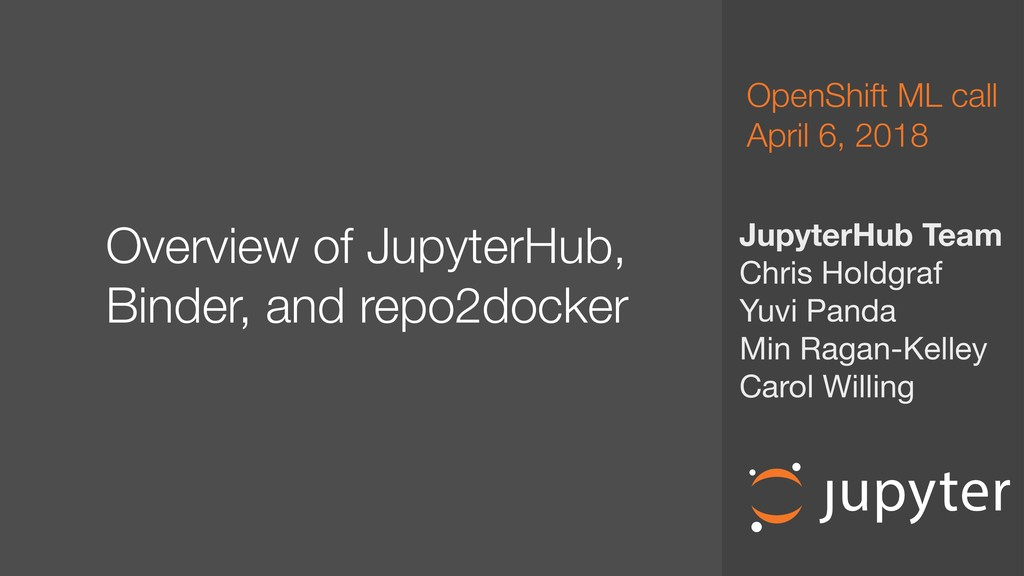 Overview of JupyterHub, Binder, and repo2dock...