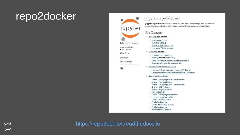 repo2docker https://repo2docker.readthedocs.io