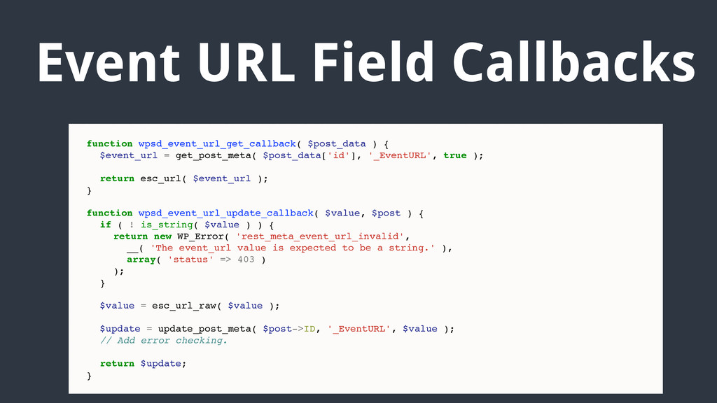 Event URL Field Callbacks function wpsd_event_u...