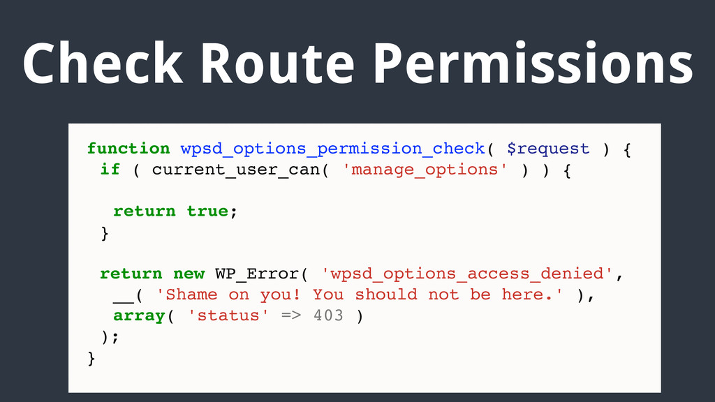 Check Route Permissions function wpsd_options_p...