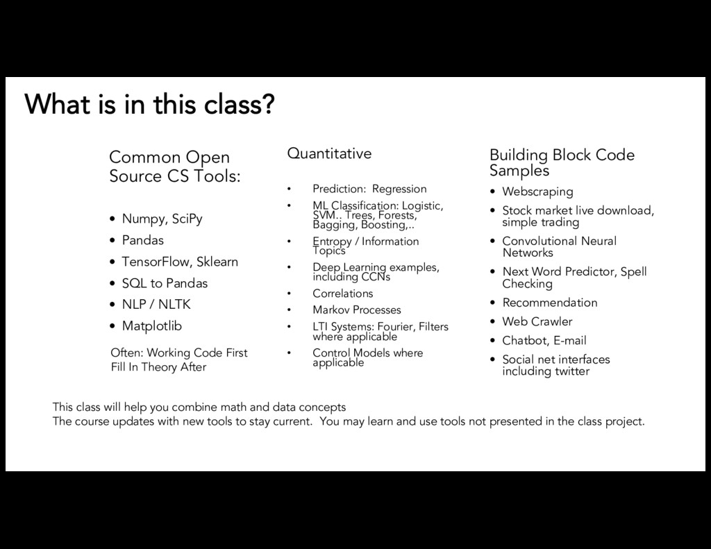 What is in this class? Common Open Source CS To...