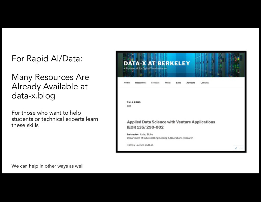 For Rapid AI/Data: Many Resources Are Already A...