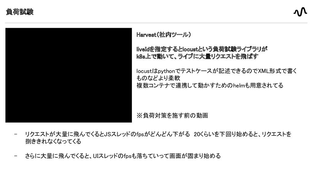 負荷試験 Harvest(社内ツール)   liveIdを指定するとlocustという負...