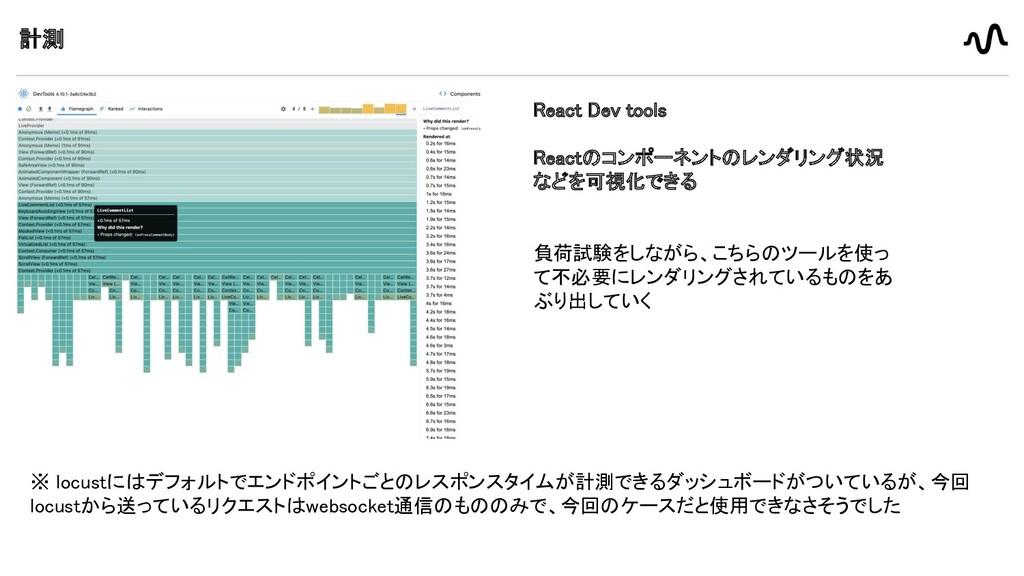計測 React Dev tools  Reactのコンポーネントのレンダリング状況 な...