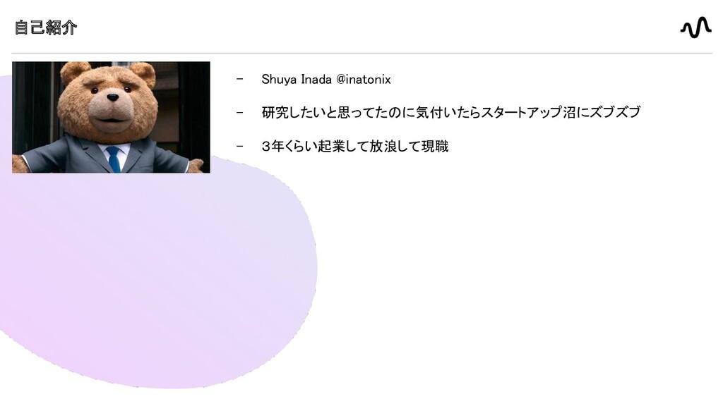 自己紹介 - Shuya Inada @inatonix   - 研究したいと思ってたの...