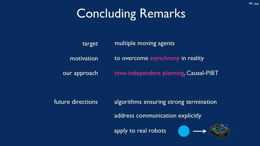 /44 44 Concluding Remarks time-independent plan...