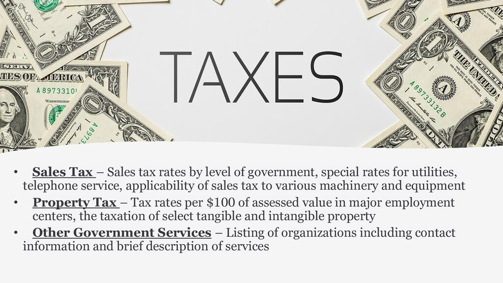 • Sales Tax – Sales tax rates by level of gover...