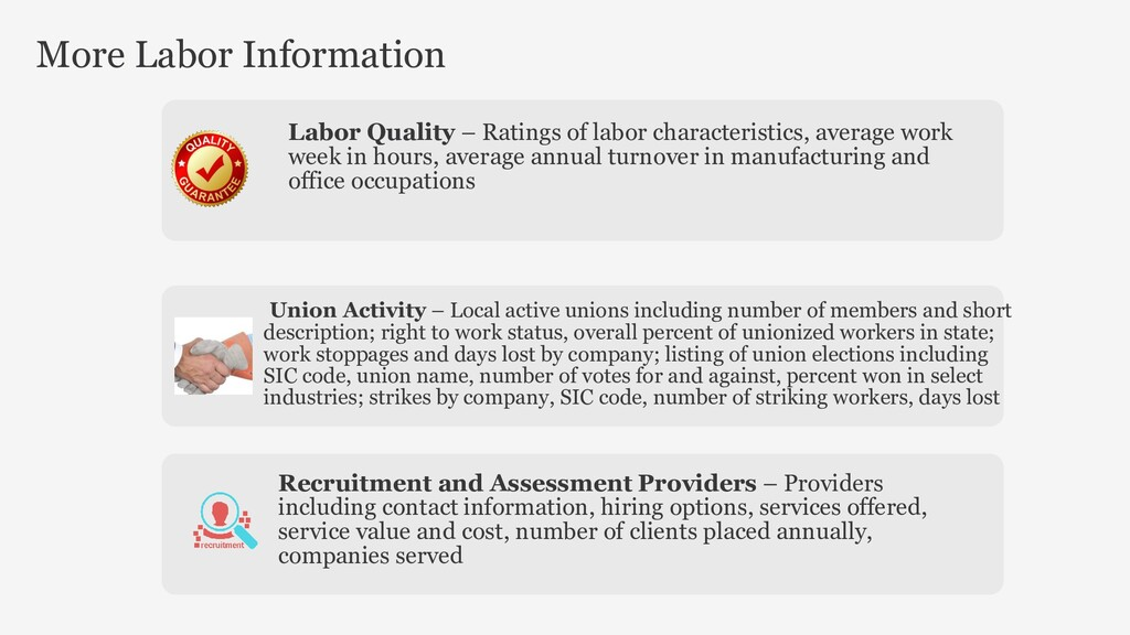 Labor Quality – Ratings of labor characteristic...