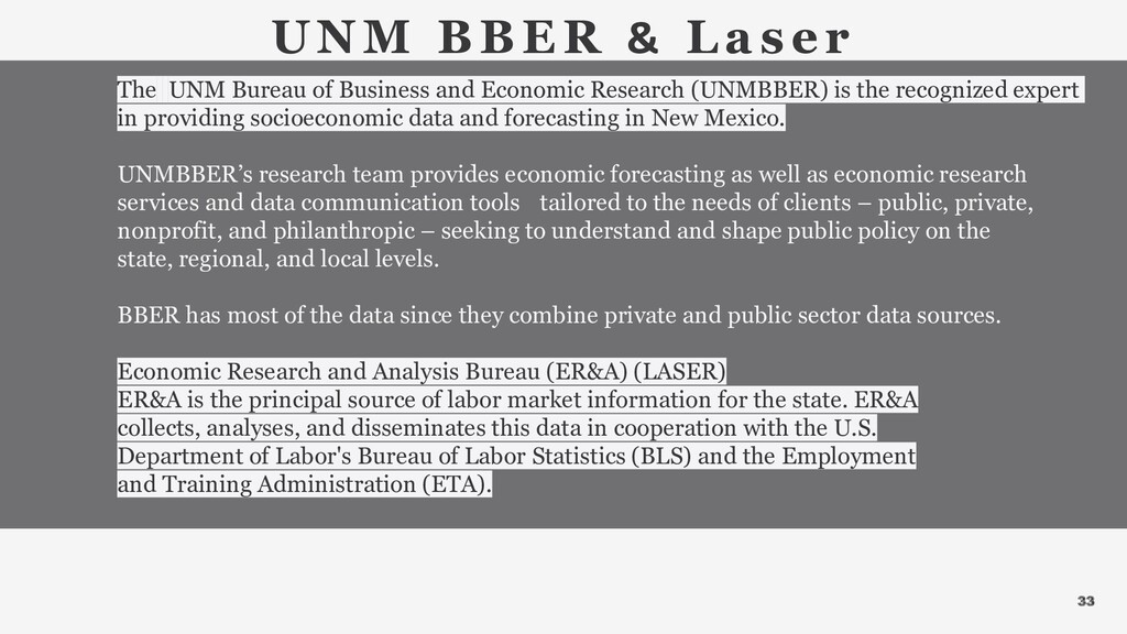 33 UNM BBER & La ser The UNM Bureau of Business...