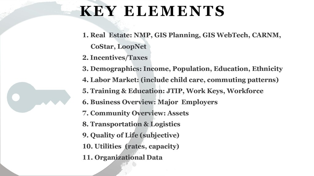 6 KEY ELEMENTS 1. Real Estate: NMP, GIS Plannin...