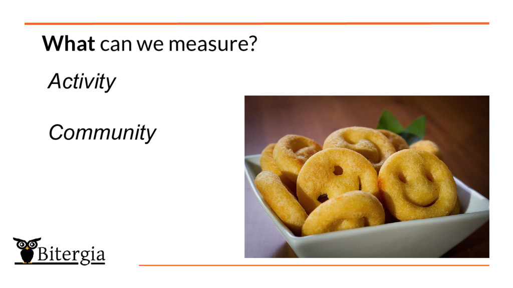 What can we measure? Activity Community