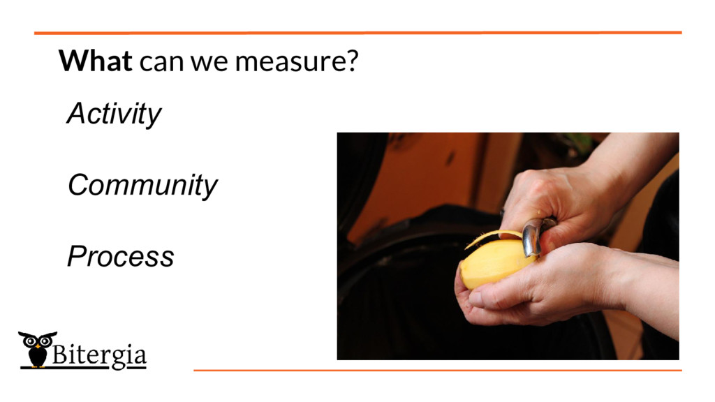 What can we measure? Activity Community Process
